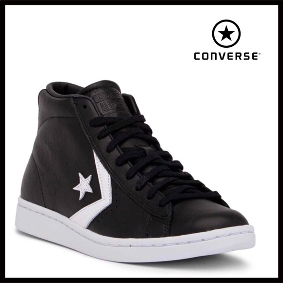 CONVERSE LEATHER BLACK MID HIGH TOPS SNEAKERS 038ede2ec